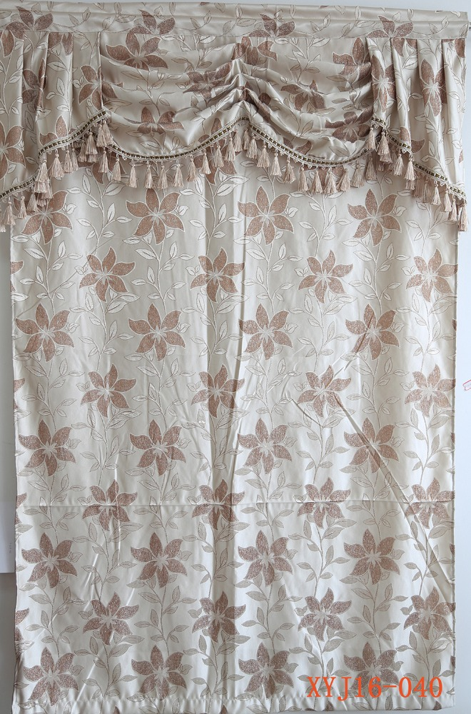 Cheap curtain swag design 100% polyester jacquard window curtain drapes from China
