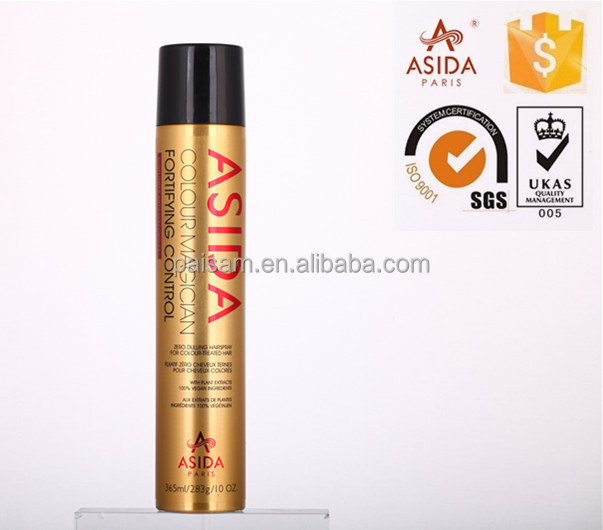 Gold bottle with black cap strong hold hair glitter spray wholesale