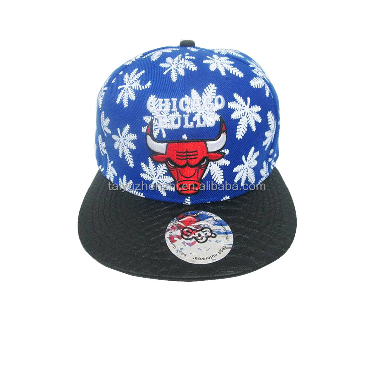 Adjustable size hip- hop suede baseball cap embroidery bull 6 panel snapback cap/hat wholesale for young people