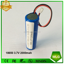 rechargeable 18650 li-ion Lithium battery cell 3.7v 2000mah have PCB cable connector For bluetooth speaker led light