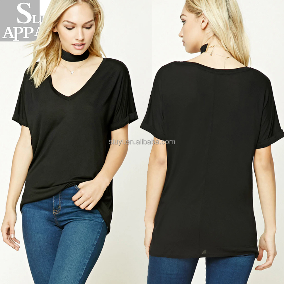 Contemporary V-Neck top summer blank t shirt for women clothing wholesale China wholesale women tops pullover
