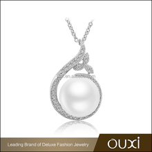 OUXI 2016 top quality wholesale price 925 silver AAA zircon Austrian crystal pearl pendant jewelry for women 70002-1