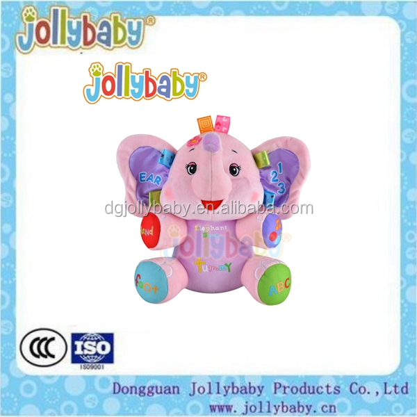 Customized Multifunction Colorful Early Education Bilingual Exploring Learning Elephant Dolls Battery Plush Baby Educational Toy