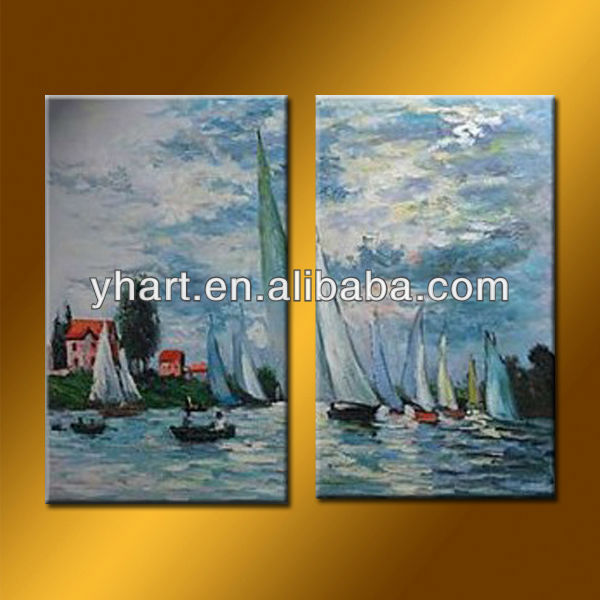 Hot Sell Handmade Canvas Ship And Sea Oil Painting