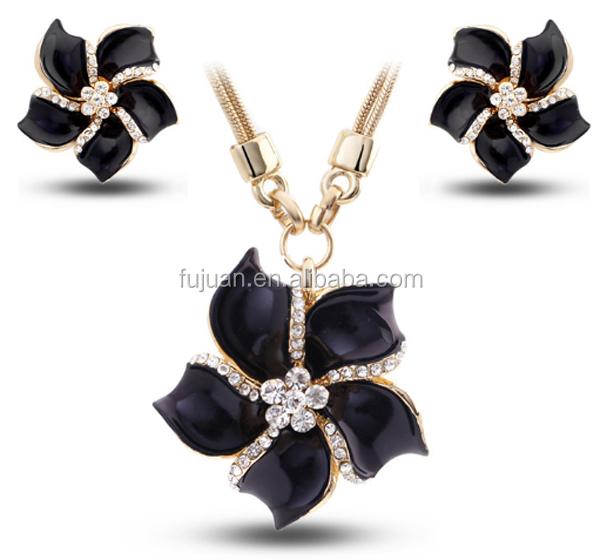 Fashion high end crysal flower fashion jewelry set for for High end fashion jewelry
