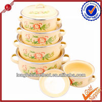 5pcs China Yiwu wholesale porcelain mini bowls enamel cookware set