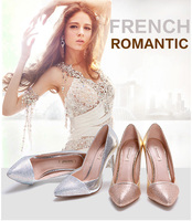 Wholesale china gold and silver ladies dress shoes high heel wedding shoe