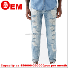 Rhr nueva washed diseño agujero trapos ripped Jeans Denim Jeans para hombre