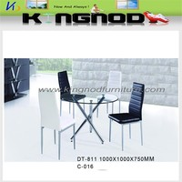 Modern style high quality round glass dining table and 6 chairs