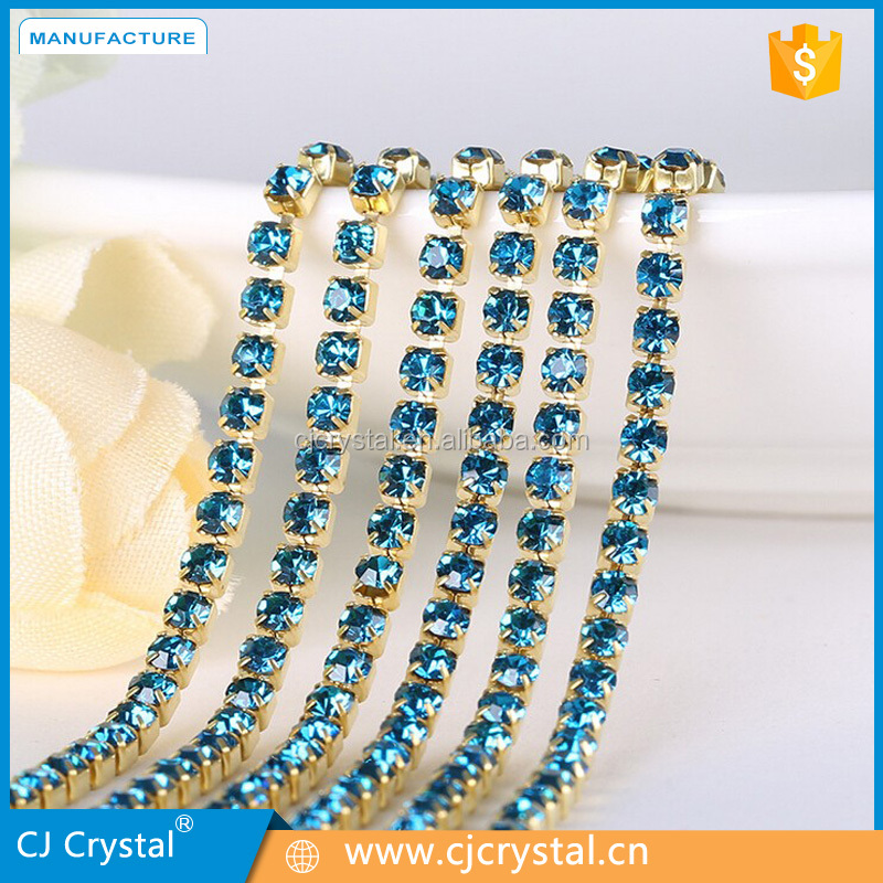 Fashion wholesale ss6-ss30 glass chaton cup chain rhinestone chain