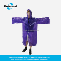 Waterproof disposable plastic purple rain ponchos