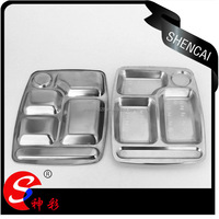 Wholesale Stainless Steel 5 Compartments Lunch box/Tiffin box/ student lunch plate