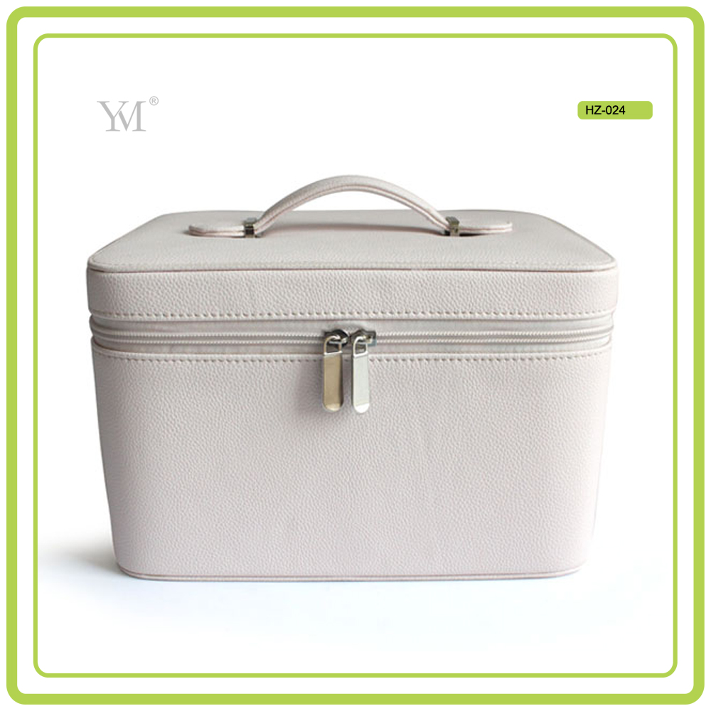 High Quality PVC Leather Portable Professional Beauty Box Makeup Vanity Case With Mirror