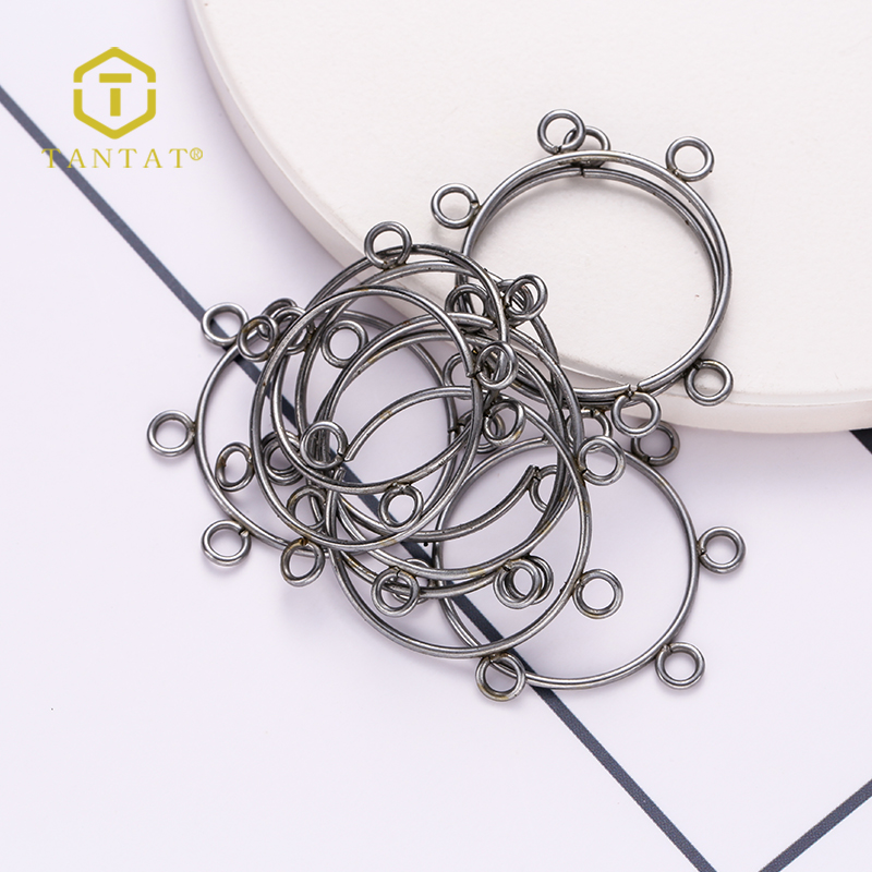 Earring Hoop Jewelry Finding Components With Loop Rhodium Plated Brass Metal Earring Wire loops