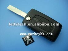 Top quality Peugeot 407 3 button remote key with light button,434 MHz ID46 T14 Chip