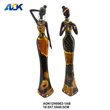 Hand Painted Modern Home Young African Lady Resin Figurine