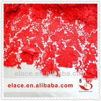 KNITTING 3D FASHION RED 100% POLYESTER WATER SOLUBLE HOLLOW OUT EMPROIDERY AFRICAN LACE FABRICS HIGH QUALITY 5 YARDS