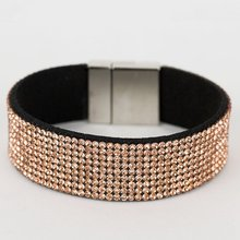 P-030 Ladies Fancy Accessories Women Magnetic Leather Charm Crystal Diamond Bracelet