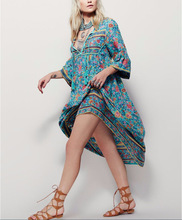 Bohemian Style Printed Maxi Long Dress With Long Sleeve
