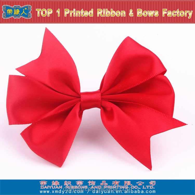 Red satin ribbon packing bow with stretch loop