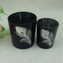 white feather pattern black candle holders