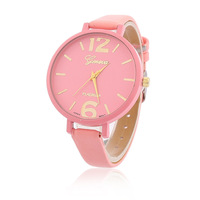 new fashion small leather strap geneva watch women candy color casual jelly watch for ladies