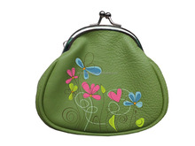 custom printing metal closure polyester coin bag purse