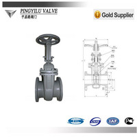 china en.alibaba cast steel gate valve pn16 with drawing pictures for water heating