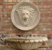 Western Palace Style Marble Stone Lion Head Statue Wall Fountain