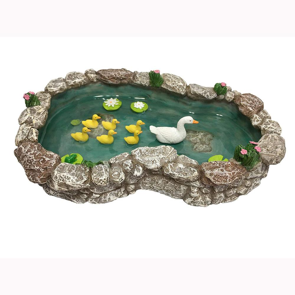 JHB Duck Pond -Mother and Ducklings! A Miniature Duck Pond for a Miniature Fairy Garden and Miniature Garden Accessories