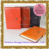 Magnetic closure notebook with shinny leather cover