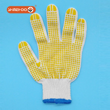SHINEHOO 100% cotton drill PVC dotted anti slip gloves