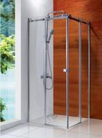 Square tray shape two sliding shower doors cubic showers tempered glass