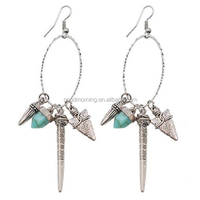 Antique silver turquoise green dangle style collection earring