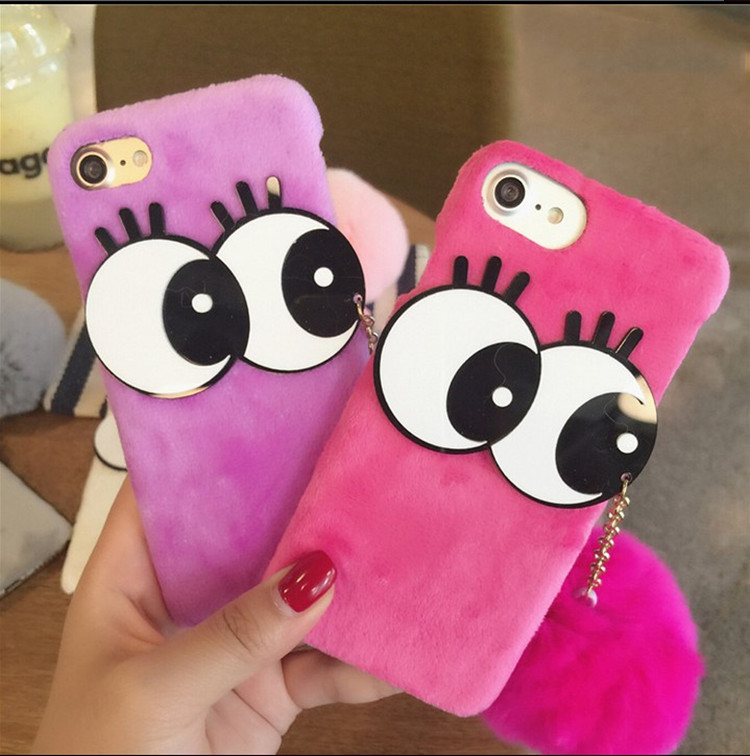Big Eye Fur Ball Tassels Soft PC Phone Cases Cover For iphone 6s 6splus fashion lady case case for phone