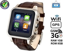 "High end Smart Watch MTK6572 3G/GSM,1.54"" IPS Touch Screen,1G RAM+8G ROM,GPS,WiFi,5.0MP Camera Android Smart Watch Mobile Phone"