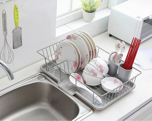 Modern big stainless steel kitchen dish drying rack with drian tray