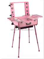 Trolley Lighted Makeup Case with Stand Legs and Wheels