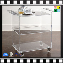 custom design plexiglass acrylic trolley top quality acrylic serving cart with four wheels PMMA lucite classic acrylic bar cart