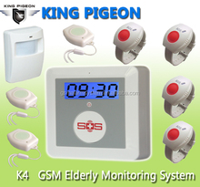 K4 Elderly Guarder & Medical Alert & House Security Alarm System,7X24Hours Monitoring,Somke Fire Monitoring