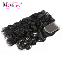Best Shipping 3 Bundles With Closure Water Wave Brazilian Human Hair Weave Retail Online Shopping Cuticle Aligned Hair