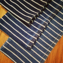 Cotton poly blue and white stripe warp knit fabric