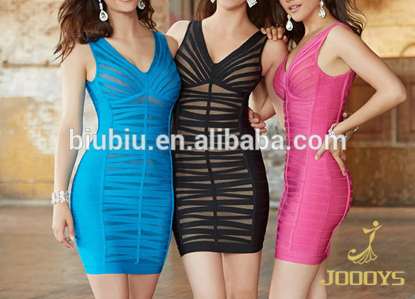 High Quality Fashion V Neck Transparent Women Bodycon Bandage Cocktail Short Party Dress 2015 JS90067
