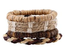 National styles wooden beads braided hemp leather bracelets 4pieces/set