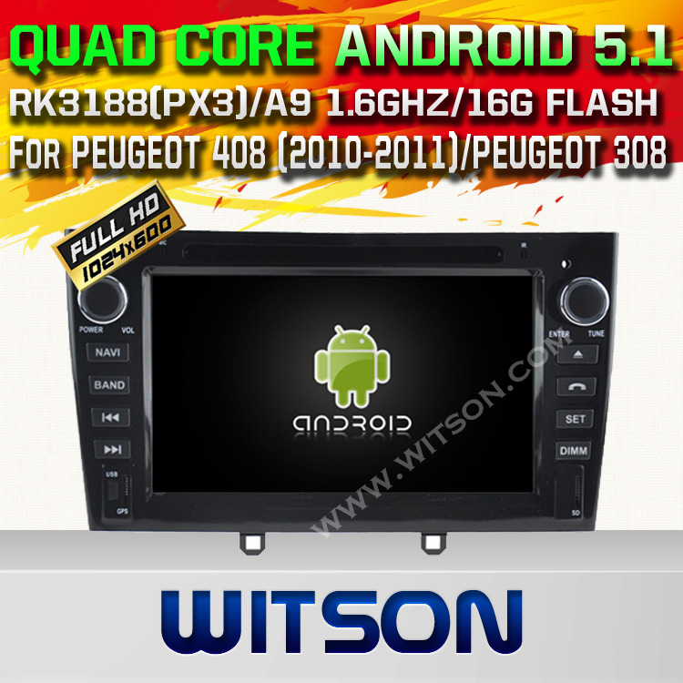 WITSON Android 5.1 DOUBLE DIN CAR DVD For PEUGEOT 408 (2010-2011)PEUGEOT WITH CHIPSET 1080P 16G ROM WIFI 3G INTERNET DVR SUPPORT