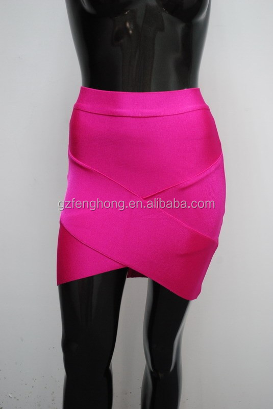2015 New arrival rose red sexy bandage skirt celebrity party sexy tight skirt