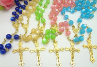 Candy Color Gemstones Rosary Necklace Catholic Gold Cross prayer beads Necklace for Ladies