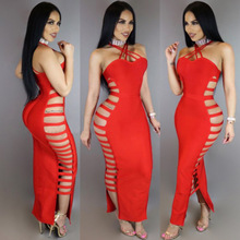 Women Sexy Sleeveless Bandage Dress Spaghetti Straps Clubwear Tight Harness Dress Front Criss Cross Long Maxi Dresses