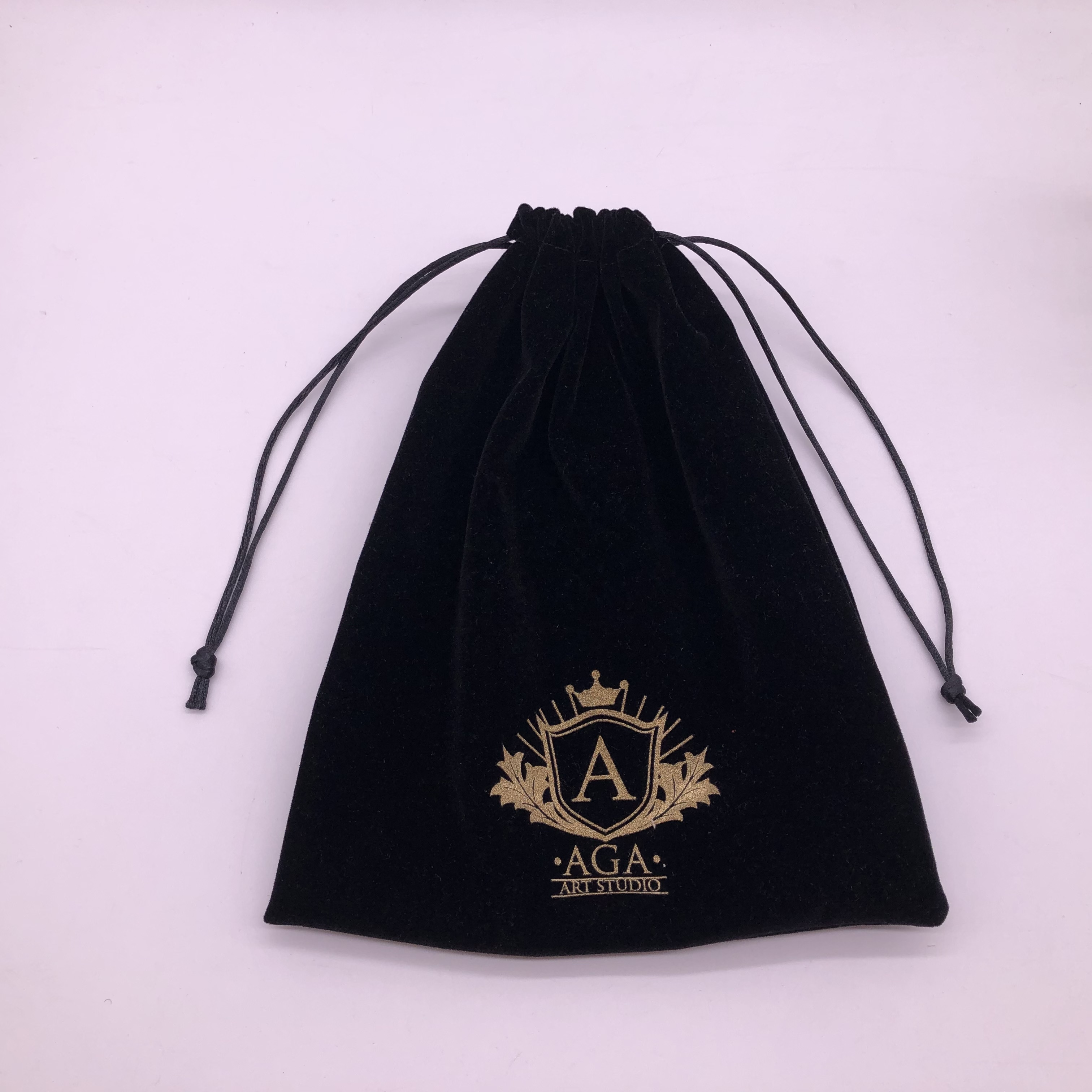 Custom Black Drawstring Velvet Dust Bag With Logo