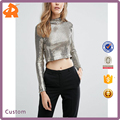 Hotsale Stylish TFNC Sequin Crop Sexy Girl's Top With Cowl Back in 2017 Guangzhou